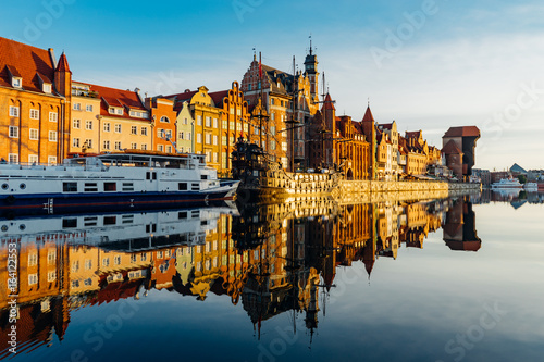 Obrazy na płótnie Canvas Wonderful riverside of Motlawa river by the morning, Gdansk, Poland