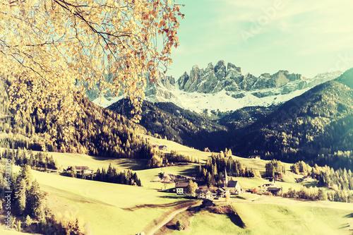 Fotobehang Zwavel geel Vintage Autumn Landscape with Mountain