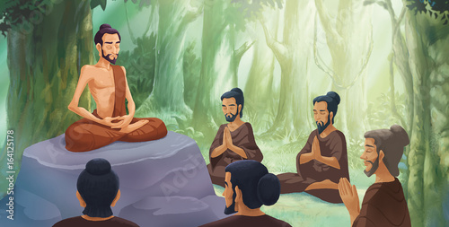 Illustration - Siddhartha practiced the extreme forms of asceticism with the sup Canvas Print