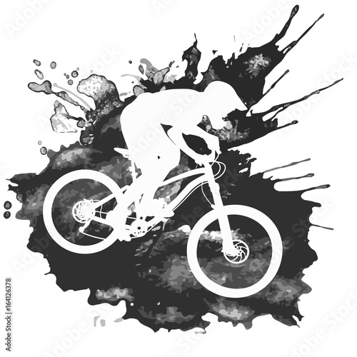 Stampa su Tela Silhouette of a cyclist riding a mountain bike
