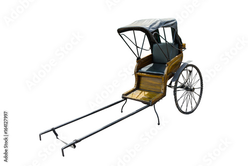 Fotografering  old vintage chinese hand pulled rickshaw isolated on white background