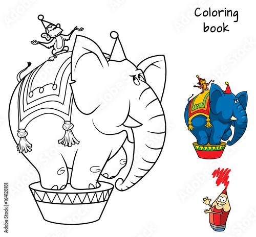 Circus elephant and monkey. Coloring book. Cartoon vector ...