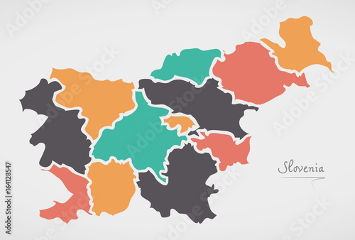 Fotografie, Obraz Slovenia Map with states and modern round shapes