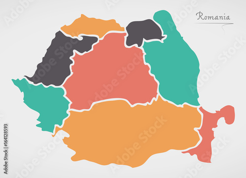 Fotografie, Obraz Romania Map with states and modern round shapes