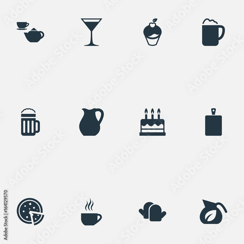 Vector Illustration Set Of Simple Gastronomy Icons Elements Vase