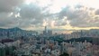 Aerial view footage of Hong Kong Island and Kowloon District