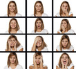 A collage of different emotions of the same women