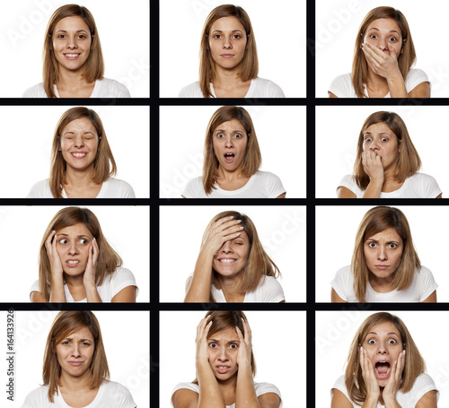 A collage of different emotions of the same women Fototapet