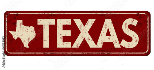 Photo  Texas vintage rusty metal sign