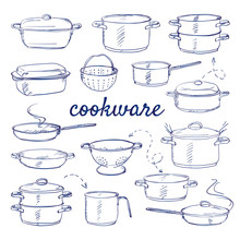 Doodle Set Of Kitchen Cook Ware - Metal Pot Cooker For Boiling, Casserole, Colander, Frying Pan, Saucepan, Cooking Pan Hand-drawn. Vector Sketch Illustration Isolated Over White Background.