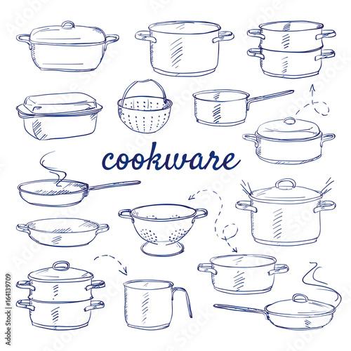 Doodle set of kitchen cook ware - metal pot cooker for boiling, casserole, colander, frying pan, saucepan, cooking pan hand-drawn Fototapet