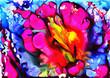 Abstrakte Blume, Tusche auf Synthetikpapier
