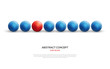 Unique red ball among blue ones