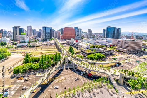 Aerial view of road 7017 and architecture in Seoul Station, Seoul City South Korea