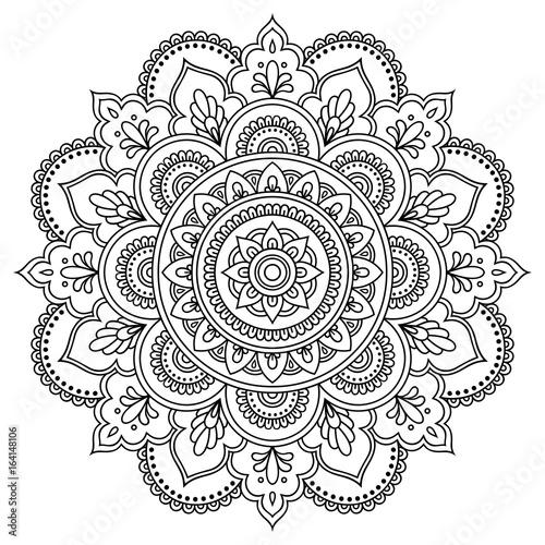 Okrągły wzór w formie mandali. Mandala z tatuażem henną. Styl Mehndi. Dekoracyjny wzór w stylu orientalnym. Kolorowanka do książki.