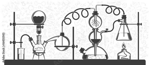 Photo  Chemical reaction consisting of flasks and hoses in a scientific laboratory