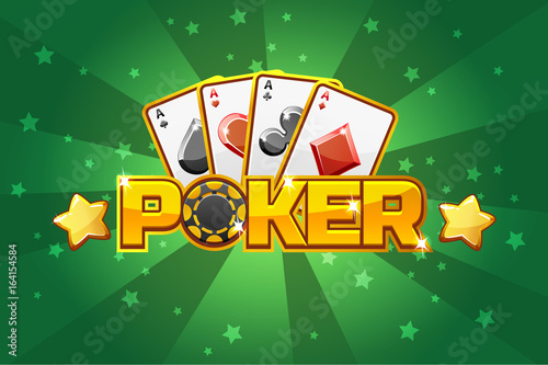 logo text POKER and Playing cards, For Ui Game element Canvas Print