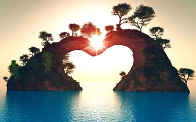 soleil sur montagne coeur 2