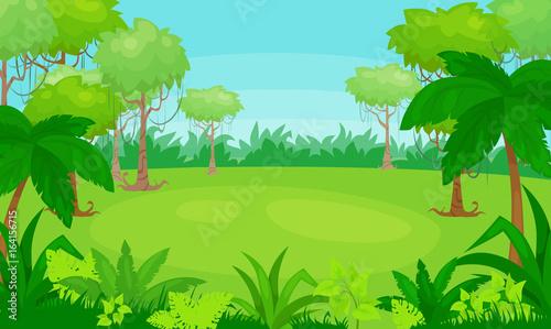 Poster Lime groen Vector cartoon illustration of jungle background. vector landscape.