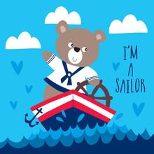 Sailor Teddy Bear Vector Illustration