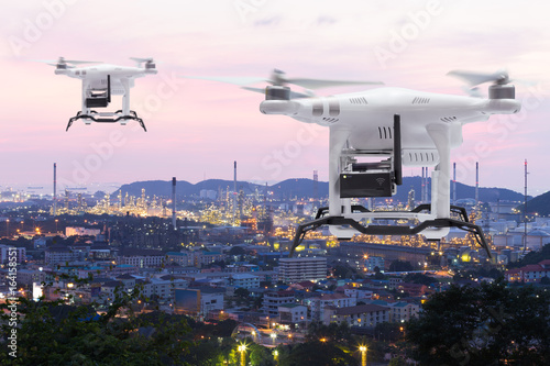 Pollution sensor Drone flying survey on industry zone, Technology 4.0 concept