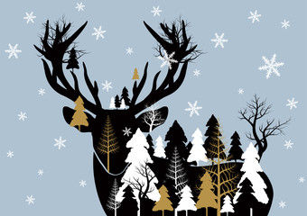 Panel Szklany Boże Narodzenie/Nowy Rok Vector christmas concept design of reindeer and pine tree forest with snowflake
