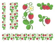 Strawberry Colored Stem With Berries, Flower And Leaves. Flat Colors Set Of Design Ornament Elements