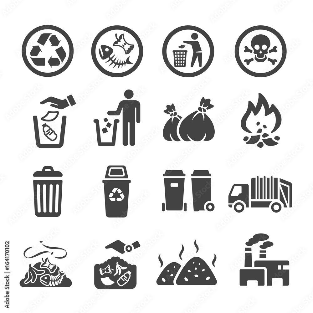 Fototapeta waste,garbage icon