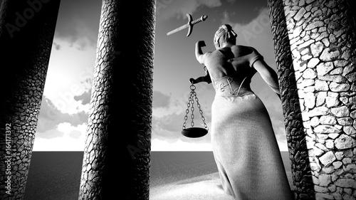 Broken lady of justice 3d rendering Canvas Print