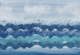 Background. Sea waves. Watercolor illustration. Hand drawing - 164175186