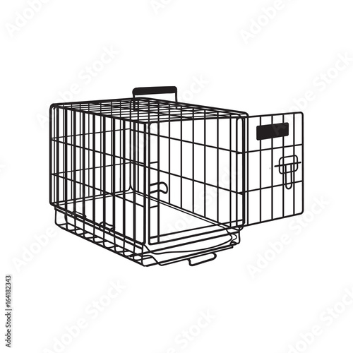 Photo Metal wire cage, crate for pet, cat, dog transportation, sketch style vector illustration isolated on white background