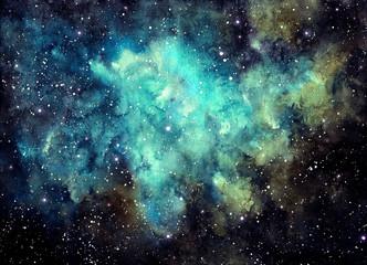 Fototapeta na wymiar Watercolor Outer Space, Nebula and Blue Shine