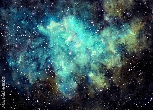 Obrazy na płótnie Canvas Watercolor Outer Space, Nebula and Blue Shine