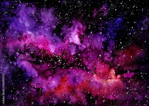 akwarela-jasne-rozowe-chmury-i-kosmosu
