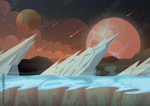 Spoed Foto op Canvas Khaki Ice rocks on galaxy planet landscape
