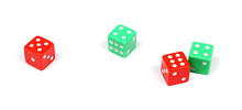 Red And Green Gambling Dice Is...