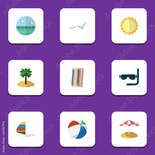 Foto op Aluminium Snoeien Flat Icon Season Set Of Surfing, Coconut, Sunshine And Other Vector Objects. Also Includes Aqualung, Swimmer, Umbrella Elements.