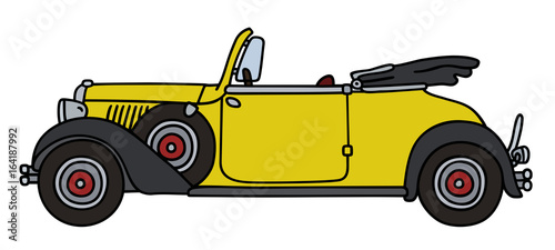 Vintage yellow roadster Fototapet