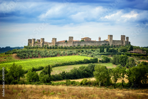 MONTERIGGIONI, SIENA - View of the small medieval village with stone walls of Mo Canvas