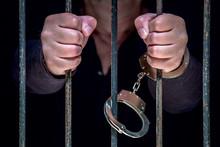 Ein Mann Ist In Einem Gefängnis Eingesperrt