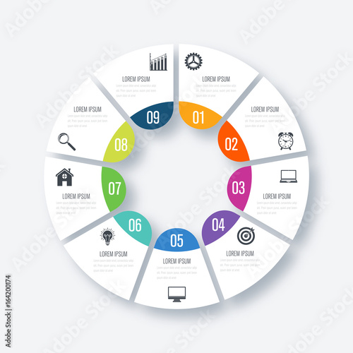 Fotografia  Infographics template 9 options with circle