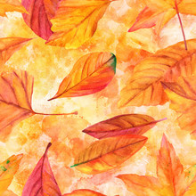 Seamless Pattern With Vibrant Watercolor Leaves On Golden Yellow