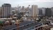 Construction site on city skyline, time lapse