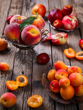 Apricots, Peaches. Fruits On A...