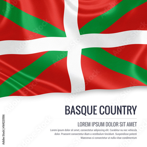 Spanish state Basque Country flag waving on an isolated white