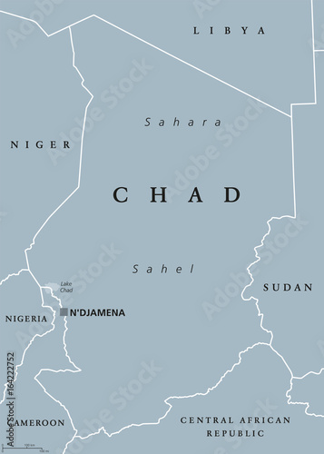 Chad political map with capital NDjamena, international borders and on