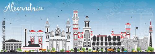 Alexandria Skyline with Gray Buildings and Blue Sky. Wallpaper Mural