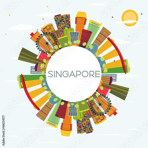 Photo  Singapore Skyline with Color Buildings, Blue Sky and Copy Space.