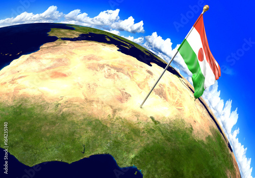 Niger national flag marking the country location on world map 3d niger national flag marking the country location on world map 3d rendering parts of gumiabroncs Gallery