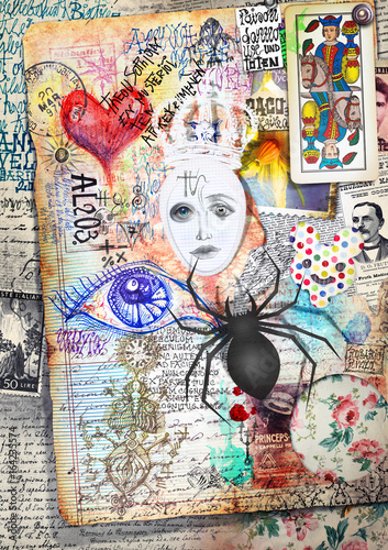 Papiers peints Imagination Esoteric graffiti and manuscipts with collages,symbols,draws and scraps